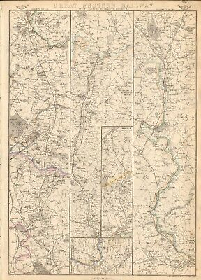 1863  Large Antique Map - Dispatch Atlas- Great Western Railway, London,oxford
