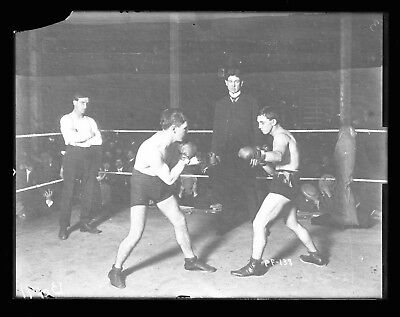 1900s Boxer Ed Hanlon v Kid Herman Original Glass Plate 6.5x8.5 Negative by Dana