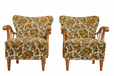 PAIR OF 1950's ELM SCANDINAVIAN ARMCHAIRS