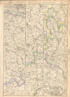1863  Large Antique Map - Dispatch Atlas- North Western Railway,london,birmingha