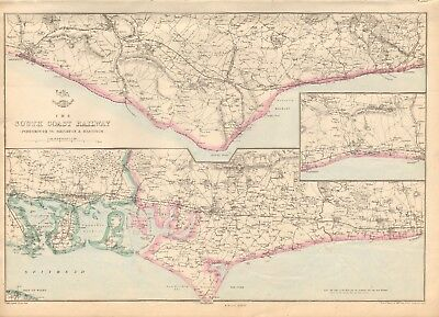 1863  Large Antique Map - Dispatch Atlas- South Coast Railway,portsmouth,hasting