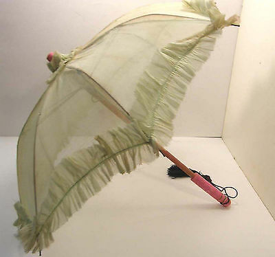 VINTAGE CHILD'S SIZE RUFFLED VOILE PARASOL W/PAINTED PINK WOODEN HANDLE c1930's