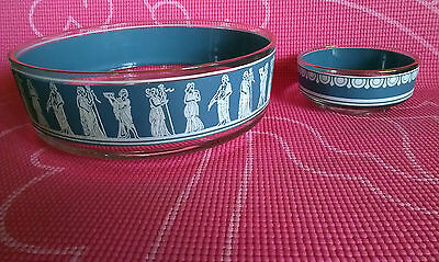 JEANNETTE~Hellenic~BLUE~GRECIAN~ WEDGEWOOD~SERVING BOWL AND SMALL BOWL