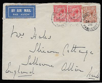 GB George V 1928 airmail London PAQUETBOT cover to England.