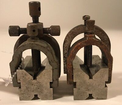 """Set of Brown & Sharpe Machinist """"V"""" Blocks w/ Clamps Small"""