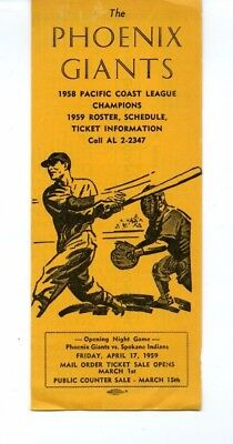 1959 Phoenix Giants Pacific Coast League Baseball Media Guide HIGH GRADE