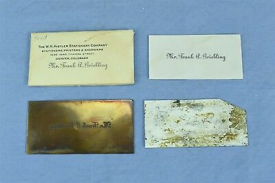 Antique COPPER PRINTING BLOCK PLATE CALLING CARD MR FRANK A GRIEBLING #04385