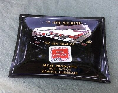 The New Home Of King Cotton Meats Vintage Glass Advertising Dish