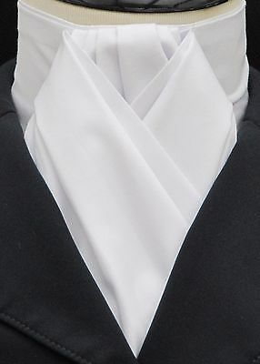 Ready Tied Plain White 100% Cotton Riding Stock - Dressage Hunting Show Tie