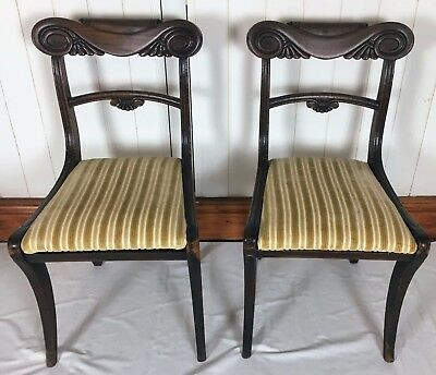 Pair Regency Mahogany Sabre Leg Dining Chairs