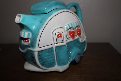 Blue Sky Dining Car Caravan Retro Trailer Camper Blue Green Teapot New