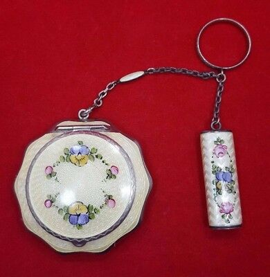 1920s STERLING SILVER FLORAL GUILLOCHE ENAMELED TANGO COMPACT w/LIPSTICK R&G Co