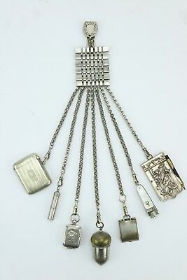 Victorian Chromium & Steel Chatelaine with 7 implements - Circa 1895