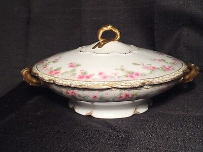 JPL Limoges Covered Dish Factory Decorated Pink & White Floral Gold  Jean Pouyat