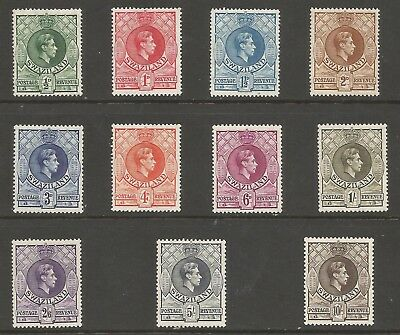Swaziland Sg28-38 The 1938-54 Set Of11 Fresh Mounted Mint Cat £160