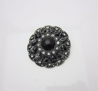 Vintage Jewellery Brooch Pin Victorian Revival Mourning Black Cabochon 1960s 70s