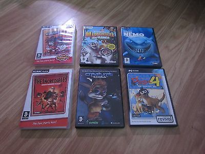 6 Pc Games Incl The Incredibles/dogz 4/finding Nemo/madagascar/fairly Oddparents