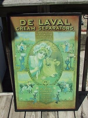 De LAVAL Cream SEPARATORS Steel/TIN Sign Great COW LITHO GRAPHICS Not EMBOSSED !