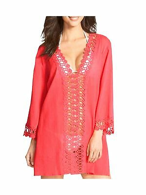 Face N Face Hollow Floral Lace Beach Bikini Cover-up Red X-Large