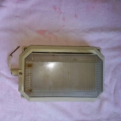 Vintage Industrial Holophane Prismatic Bulkhead Wall Light Lamp Art Deco