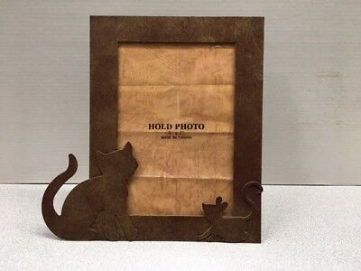"Cat Kitty and Mouse Photo Picture Frame glass metal 5"" x 7"""