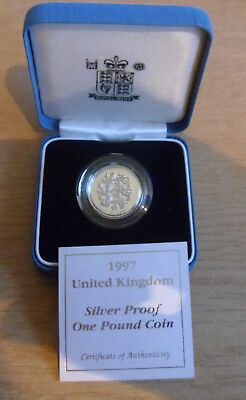Boxed UK Silver Proof 1997 1 One Pound Coin With COA