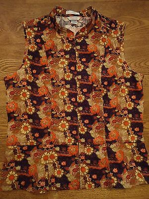 CHRISTOPHER & BANKS Floral Print FALL color Vest~Womens Full Zip~EUC SMALL S