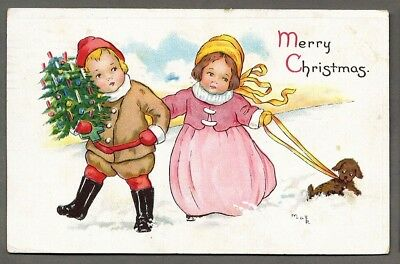 Early MABEL LUCIE ATTWELL Christmas Children Walking Dog Puppy Postcard 1914