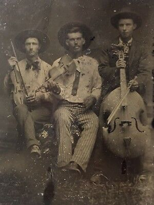 Cowboy Fiddle Band - 3 Musicians Tintype - Western Musical Instruments Vtg Photo