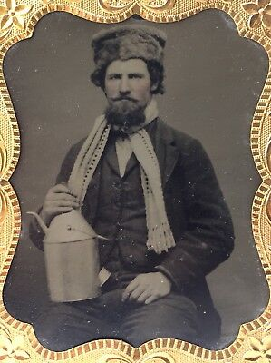 Man w/ Oil Can & Fur Hat 1860s Cased Tintype - Railroad? Occupational Vtg Photo