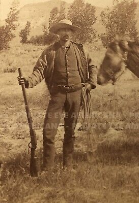Charles Eaton w/ Rifle DAKOTA TERRITORY Eaton Brothers Dude Ranch Cowboy Photo