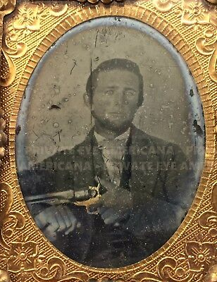 Revolver-Armed NORTH CAROLINA Possible Confederate Civil War Soldier Ambrotype
