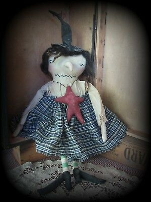 Primitive Halloween Witch Doll & Star  Waverly Autumn Fall  Decoration Last Sale