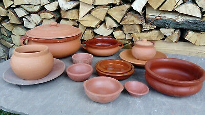 Indian Earthenware Clay Pot Bowls Cazuela Plates - food/pickle/candle/curry/tawa