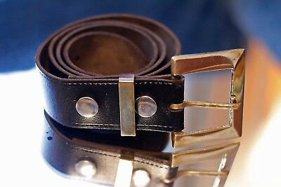 Vintage Geniune Brass Buckle Leather Black Belt British Made 1970s