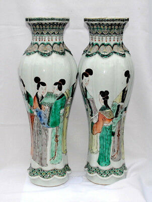 """Pair 19Thc Antique Chinese Famille Rose Porcelain Vases Painted Figures 15""""1/4"""