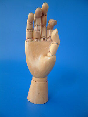 """Artists Articulated Wooden Hand - Jointed Fingers & Thumb - 9.5""""/24cm tall"""