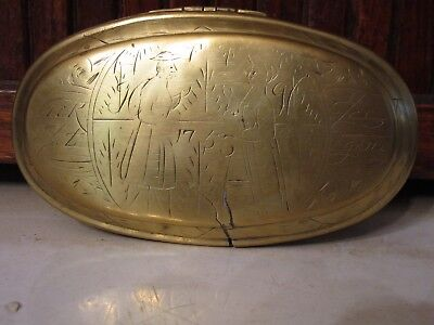 18th Century Brass DUTCH Tobacco SNUFF Box With ENGRAVINGS Both Sides Dated 1755