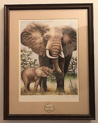 """Ian Forster Signed """"Elephant Embrace"""" Lenox Collections Framed 2163/9500"""