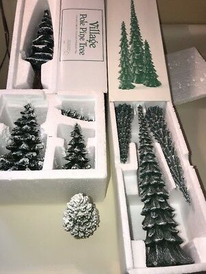 Lot of Porcelain Dept 56 Trees Pencil Pines, Evergreen Trees, Pole Pine Lot of 8