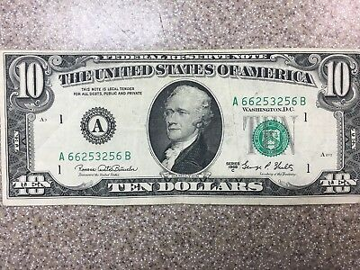 1969 C Series $10 Bill Vintage Old American Currency Ten Dollar Note Fancy A