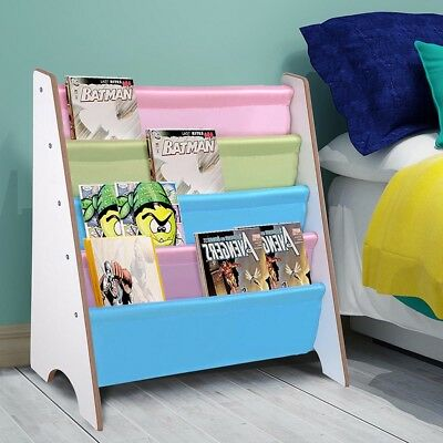 Wooden Canvas Sling Bookcase Bookshelf Shelf Kids Bedroom Magazine Book Storage