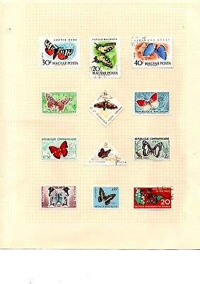 Butterfly and insect stamps x 45 worldwide thematics loose and album page
