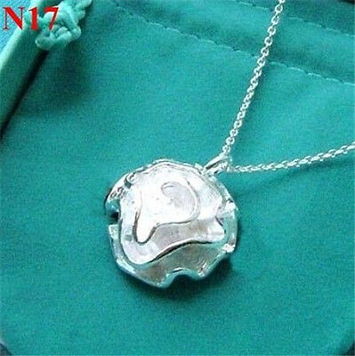 New Classical 925 Silver Ladies Necklace Jewelry  Silver Rose Pendant Lover
