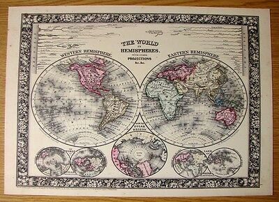 Beautiful & Collectable Reproduction On Card Of The World In Hemispheres Of1864