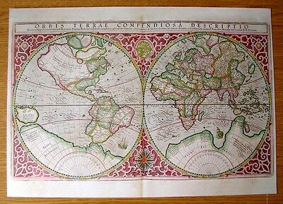 A Beautiful Reproduction On Card Of The Antique World Map Orbis Terrae Of 1587