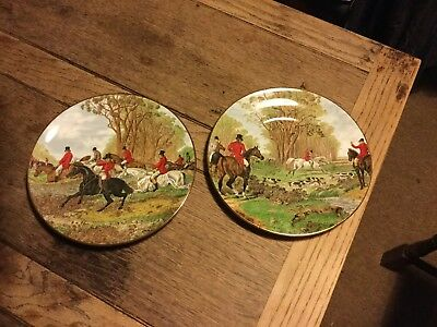 Hand decorated staffordshire hunting scene plates
