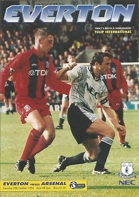 Football Programme - Everton v Arsenal - Premiership - 29/10/1994