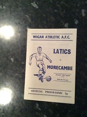Pre League Wigan Ath Home Game V Morecambe 16.08.1975 2 Pager Printing Issue
