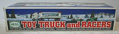 1997 Hess Toy Truck and Racers New in Box   Advertising Hess Gas & Oil